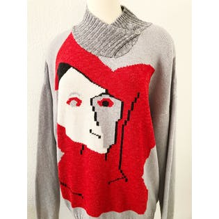 80's Hand Knit Face Sweater by Tan-Gan