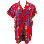 80's Red Tropical Print Button Down by Mr. Witt Usa