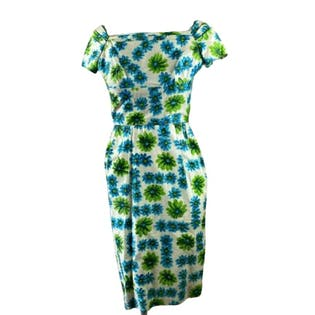 50's/60's Blue Green Floral Wiggle Dress
