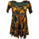 90's Rayon Dress with Rooster Novelty Print