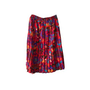 80's Printed and Pleated Midi Skirt