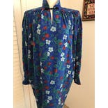 another view of 80's Blue Floral Dress by Ungaro