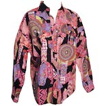 80's Western Style Printed Blouse with Tassels by Roughrider