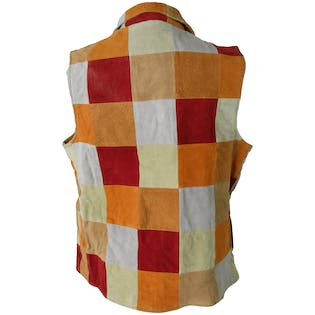 90's Autumn Toned Leather Checkered Vest
