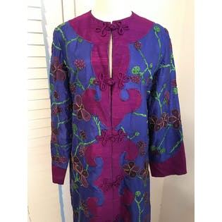 70's Sabina of India Silk Beaded Embroidered Coat Dress Caftan