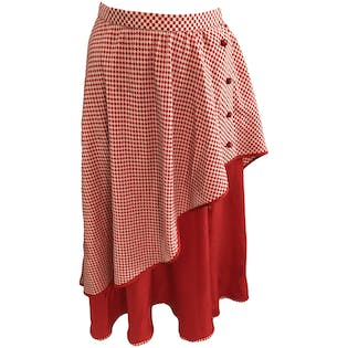 80's Silk Checkered Skirt Double Layer by Valentino