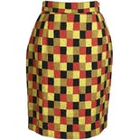 90's Bold Checker Print Pencil Skirt by Emanuel Zoo