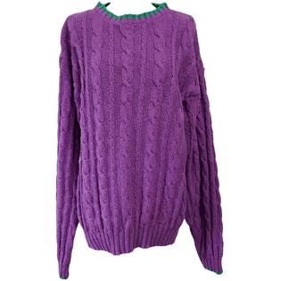 80's Purple Cable Knit Sweater with Green Trim by Banana Republic