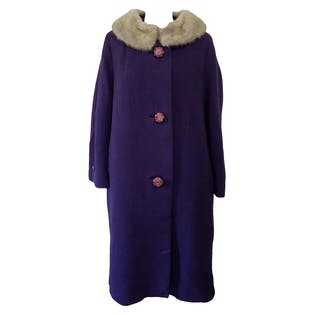 Purple Coat with Large Pink Buttons and a Removable Collar