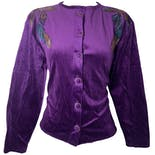 Purple Velour Cropped Button Down with Leaf Patchwork