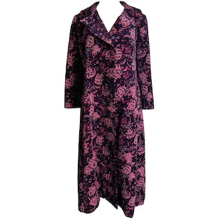 Purple and Pink Printed Long Coat