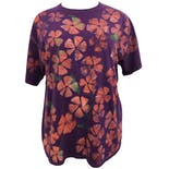 Purple Floral Painted T-Shirt by Fruit of the Loom