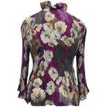 another view of 00's Floral Print Accordian Ruffle Button Up Blouse