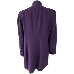 Purple Mock Neck Embroidered and Buttoned Long Coat by Christian Dior