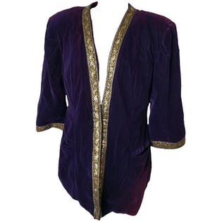 70's Purple Velvet Coat Metallic Gold Trim Accents