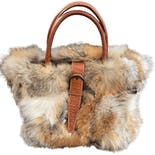 Rabbit Fur and Leather Italian Handbag by Claudia Firenze