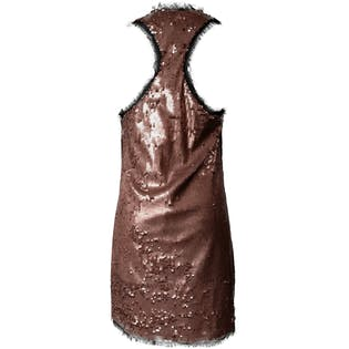 Sleeveless Copper Sequin Party Dress by Rachel Roy