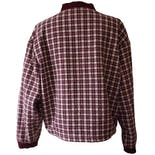 another view of Raspberry Plaid Bomber by basic editions