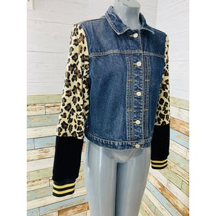 Reworked Denim Jacket with Leopard Print & Velvet Sleeves by Neverabore
