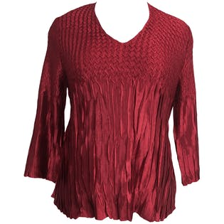 Red Accordion Pleated Blouse by Cato