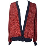 Red and Black Cheetah Print Cardigan by Wynshine