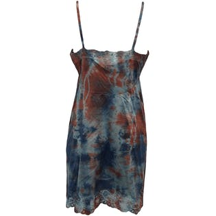 Red and Blue Tie Dye Slip Dress