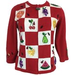 90's Red and White Fruit Patchwork Cardigan