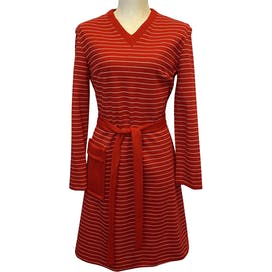 Woolen Dress Red and White Striped Long Sleeve Dress by Just For Joseph Magnin