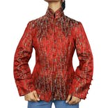 Red Embroidered Knot Button Up Jacket