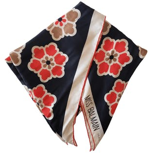 Red Cream and Black Floral Scarf by Balmain