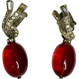 Red Drop Clip On Earrings by Marvella
