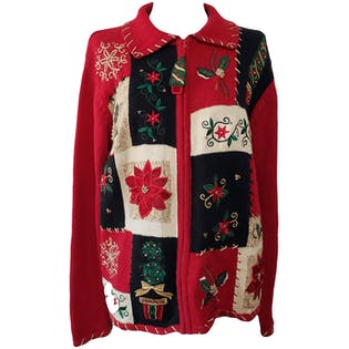 Red Floral and Christmas Embroidered and Beaded Jacket by Heirloom Collectibles