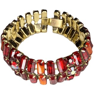 Red and Gold Tone Gemstone Bracelet by Kramer Of New York