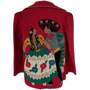 Red Jacket with Dancing People Graphic by Garcia Seal Hnos