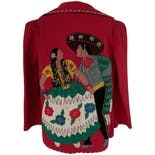 another view of Red Jacket with Dancing People Graphic by Garcia Seal Hnos