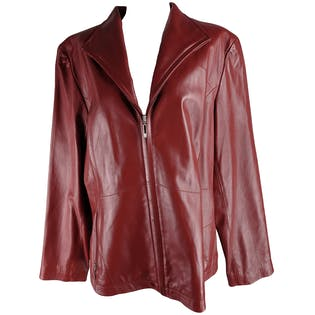 Red Leather Zip Up Jacket by Kenneth Cole