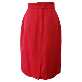 Red Pencil Skirt with Tulip Waist by Sung Sport