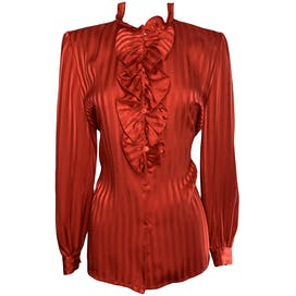 Red Striped Ruffle Breasted Blouse by Louis Joone