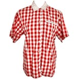 Red and White Checkered Button Up Top by Pat Fashions