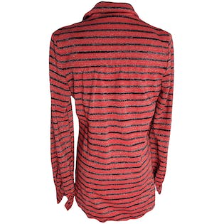 Red and Black Striped Buttoned Sweater