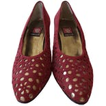 Red and Gold Eyelet Heels by Anne Klein