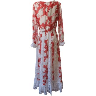 Red and White Floral Maxi Dress with Lace Detailing