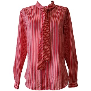 Red and White Striped Blouse with Tie Neck