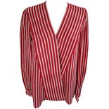 Red and White Striped Long Sleeve Blouse by Adrianna Papell