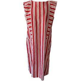 Red and White Striped Ruffled Dress by Kelin of California