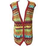 Red Beaded V-Neck Vest by Cambridge Dry Goods