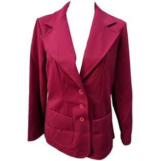70's Red Polyester Buttoned Pocket Blazer Jacket by Pykettes