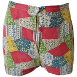Red Green and Blue Patchwork Shorts