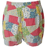 another view of Red Green and Blue Patchwork Shorts