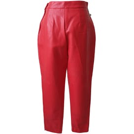 Red Vegan Pants with Front Welt Pockets and Side Zipper by Louise Paris